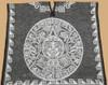 Mexican Blanket Poncho -Black Mayan Calendar