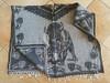 Black & Gray Mexican Blanket Poncho -Buffalo (67sm773)