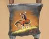 """Tarahumara Painted Hide Kiva Ladder 72"""" -End of Trail (87bc24)"""