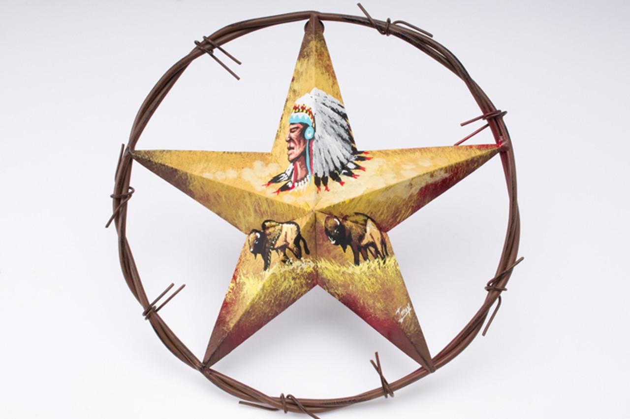 Hand Painted Metal Texas Star Wall Art -Indian Buffalo