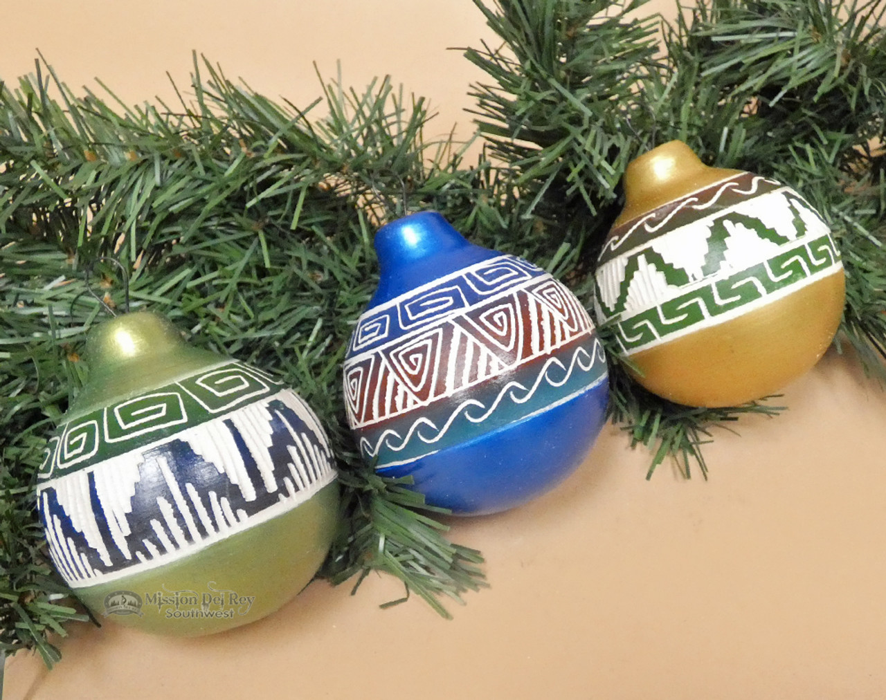 Native American Christmas Ornaments.Native American Painted Christmas Ornaments 3 Set O1