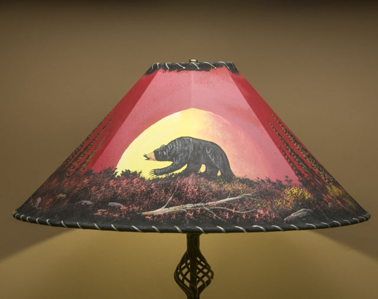 Hand Painted Leather Lamp Shade 24 Moonlit Bear Pl65