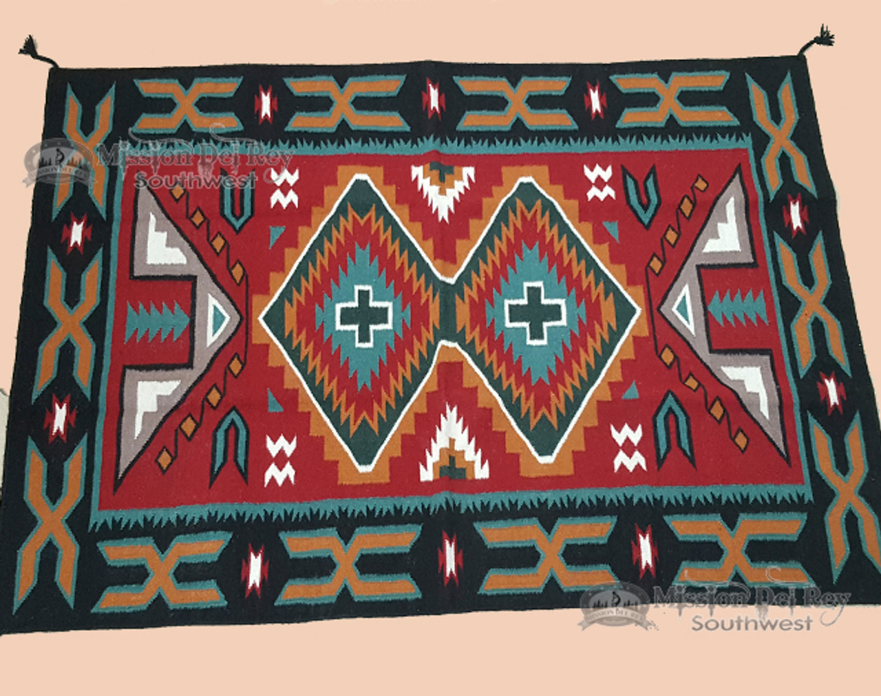 Large Wool Southwestern Handwoven Rug 4 X6 4x6783