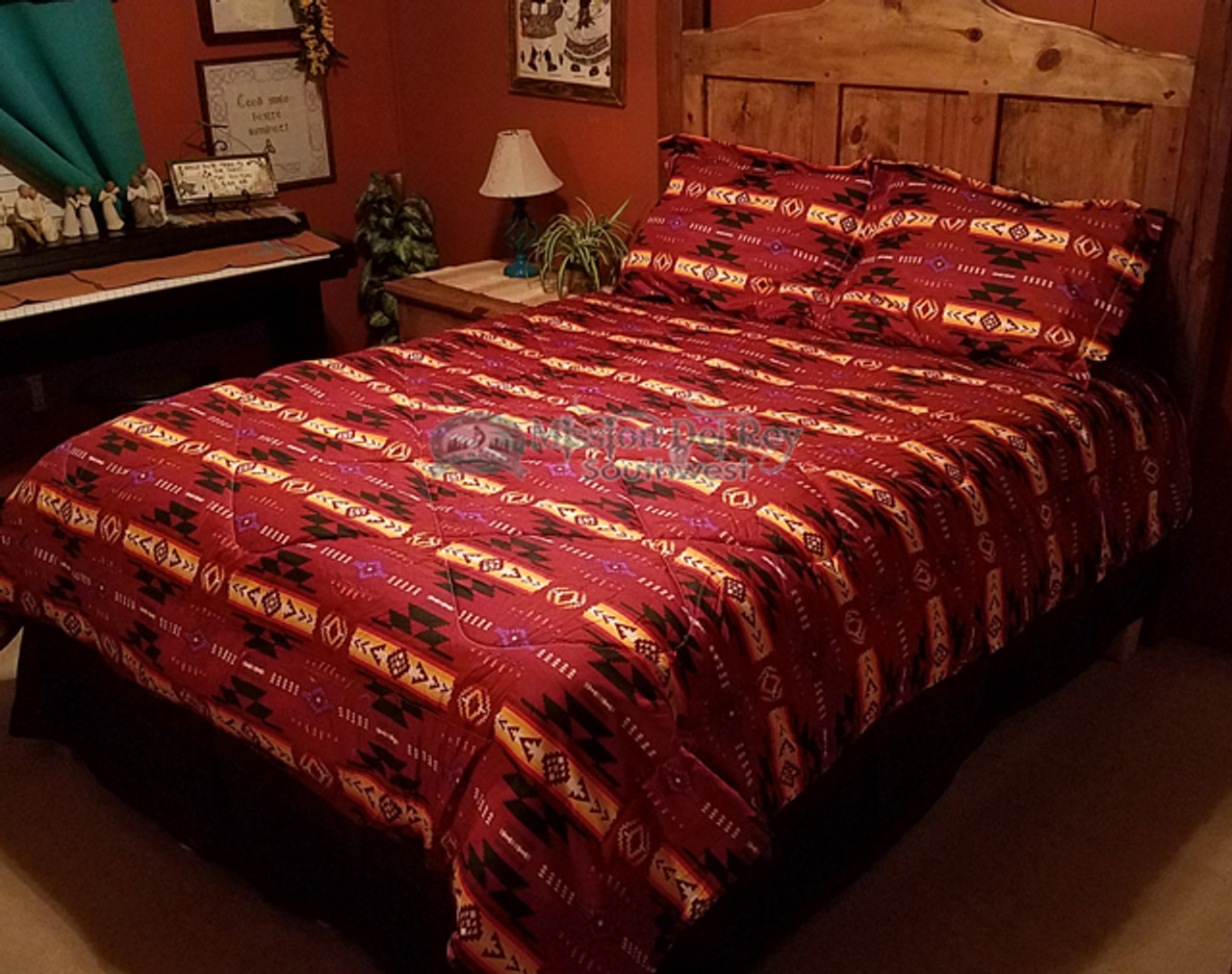 4 Pc Southwest Comforter Set Dark Red Queen Mission Del Rey Southwest