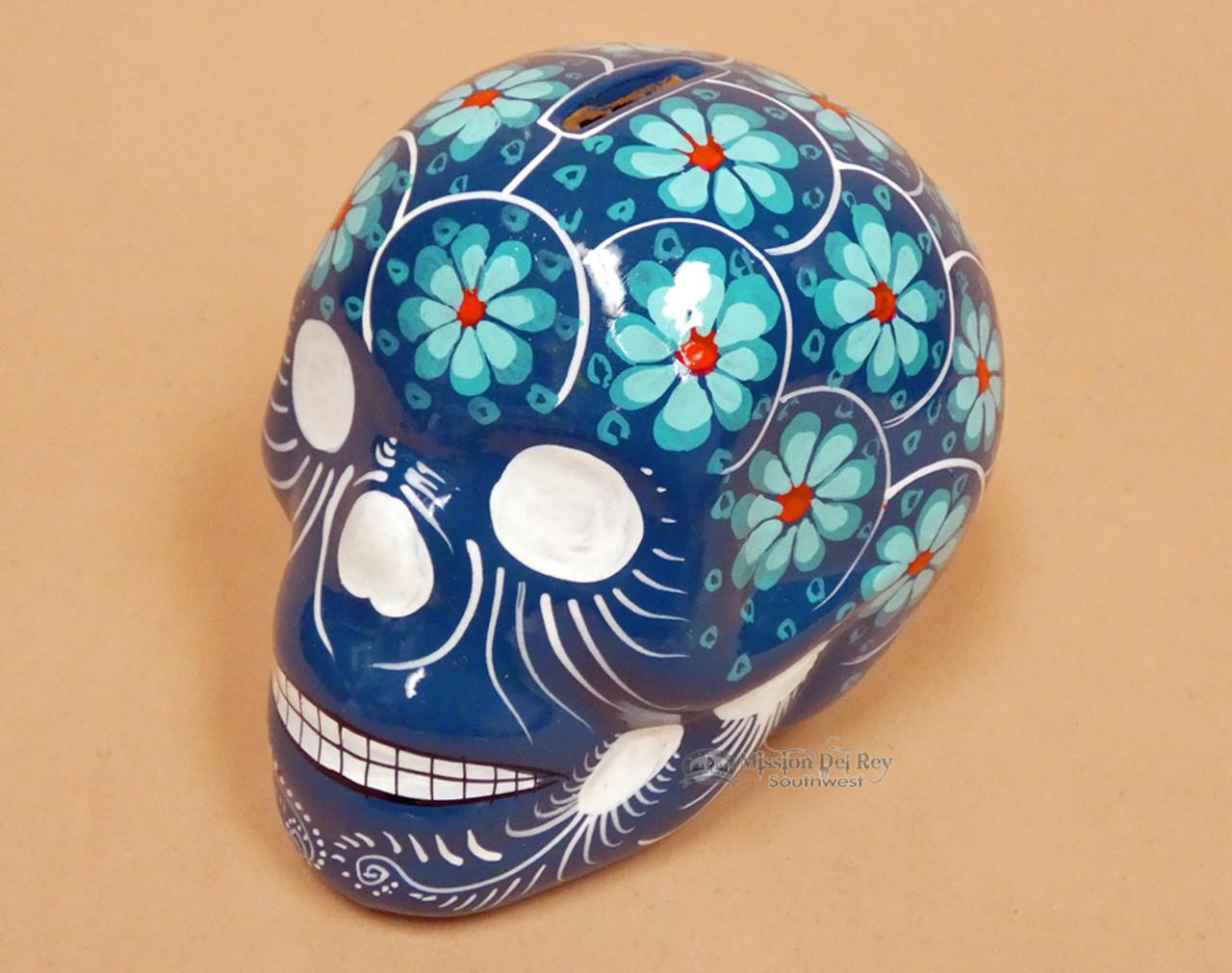 Airbrushed Ceramic Tile Blue Skull