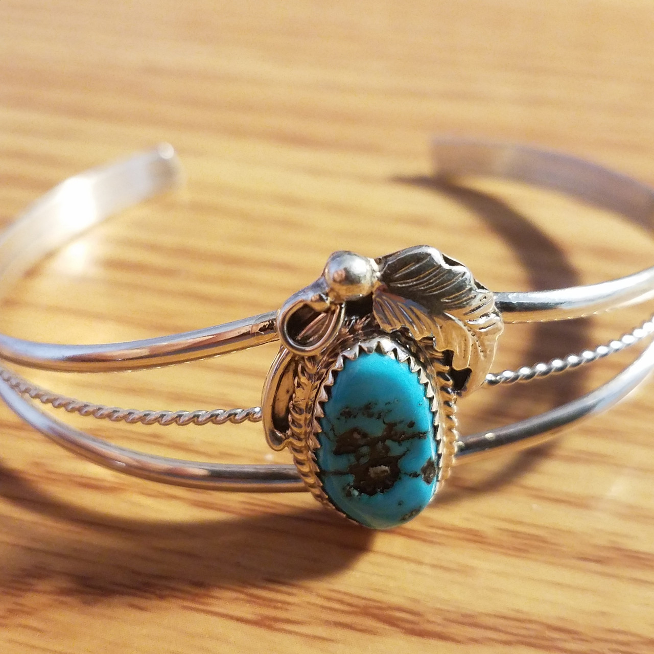 Sterling Silver Native American Southwestern Native American Turquoise Cuff Bracelet