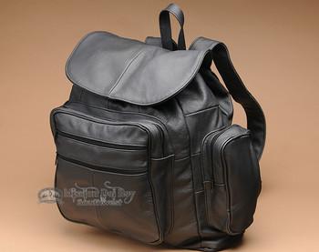 Soft Genuine Cowhide Leather Back Pack -Black (bp1)