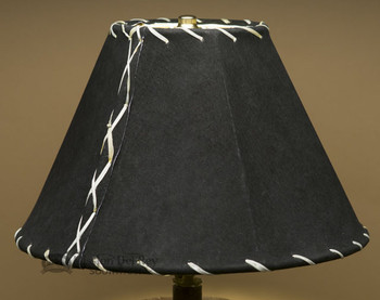 "Western Leather Lampshade - 12"" Black Pig Skin"