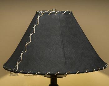 "Western Leather Lamp Shade - 16"" Black Pig Skin"