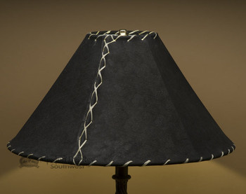 "Western Leather Lamp Shade - 18"" Black Pig Skin"