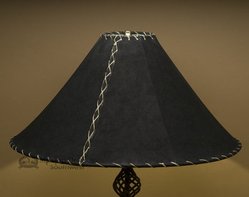 "Western Leather Lamp Shade - 22"" Black Pig Skin"