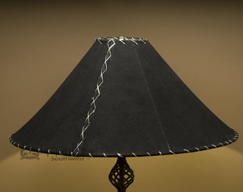 "Western Leather Lamp Shade - 24"" Black Pig Skin"