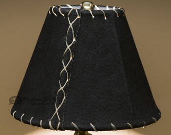 Western Leather Lamp Shade Black Pig Skin - 8""