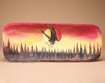 Painted Log Bowl - Sunset Eagle