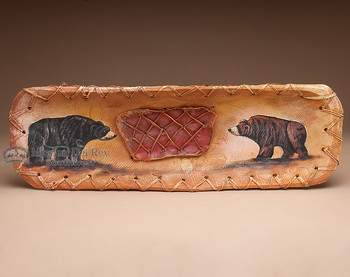 Old Style Painted Rawhide Laced Bowl - Bears