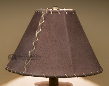 "Western Leather Lamp Shade - 10"" Brown Pig Skin"