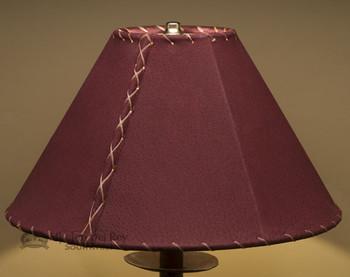 "Western Leather Lamp Shade - 14"" Burgundy Pig Skin"
