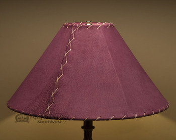 "Western Leather Lamp Shade - 18"" Burgundy Pig Skin"