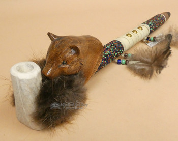 Native American beaded pipe -Carved Mountain Lion