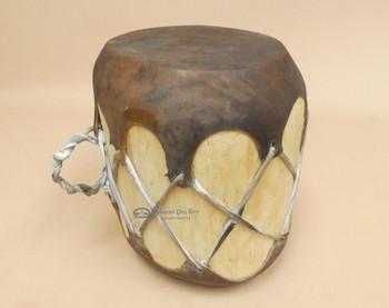 Natural Log Drum with Dark Rawhide