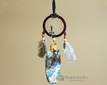 Kiowa Indian Cedar Feather and Dreamcatcher Wall Art