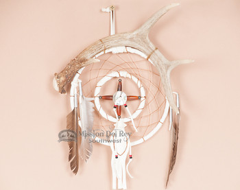 Genuine Antler with Dreamcatcher and Medicine Wheel Combo - White