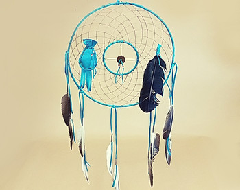 "12"" Medicine Wheel Dream Catcher -Turquoise"