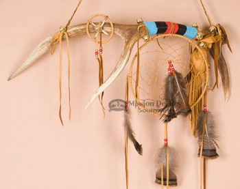 Tigua Indian Dreamcatcher Medicine Stick - Elk Antler