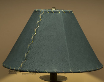 """Western Leather Lamp Shade - 14"""" Green Pig Skin"""
