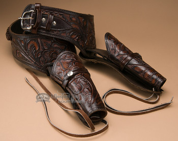 "44-45 Cal. Western Tooled Leather Double Holster 42"" (gb15)"
