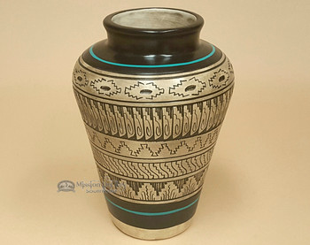 Hand etched Navajo vase