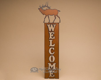 Rustic Cabin Metal Welcome Sign -Elk