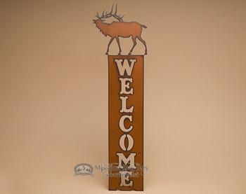 Rustic Cabin Metal Welcome Sign -Elk