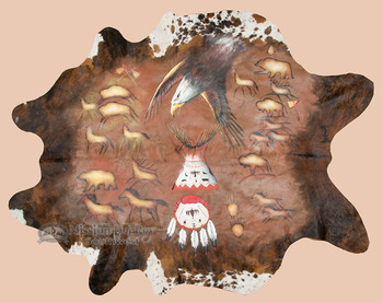 Hand Painted Large Cowhide - Native Eagle