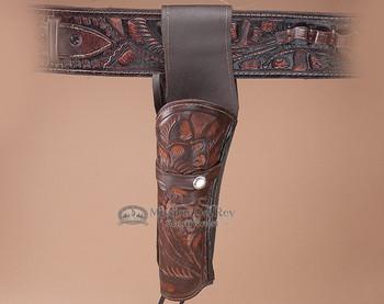 "Tooled Western Gun Holster 10"" -Left Handed (h3)"