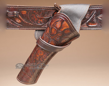 """Tooled Leather Cross Draw Holster 10"""" -Left Handed (h7)"""