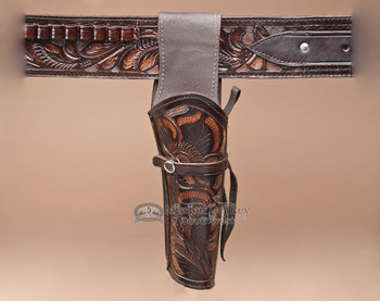 "Hand Tooled Western Leather Holster 10"" -Right Handed (h8)"