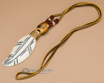Navajo Indian Bone Feather Necklace -Maroon