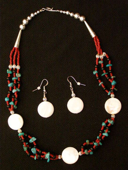 """Native American Navajo Jewelry -Necklace & Earring Set 20"""""""