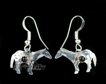 Zuni Native American Silver Indian Earrings -Horses
