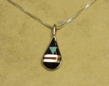 Native American Silver Pendant Necklace -Zuni