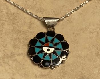 """Native American Silver Pendant Necklace 18"""" -Zuni"""