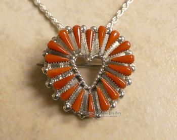 Zuni Needlepoint Red Coral Necklace/Pin