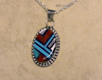 "Zuni Inlay Necklace -20"" Chain"