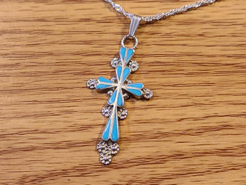 Sterling Silver & Turquoise Cross Necklace