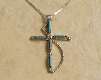 "Inlaid Silver Cross & Chain 20"" -Sleeping Beauty Turquoise"