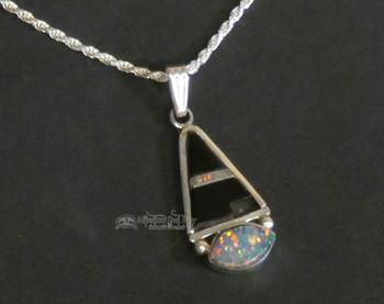 "Native American Silver Pendant Necklace 20"" Opal -Navajo"