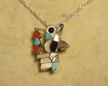 Zuni Inlay Hummingbird Necklace