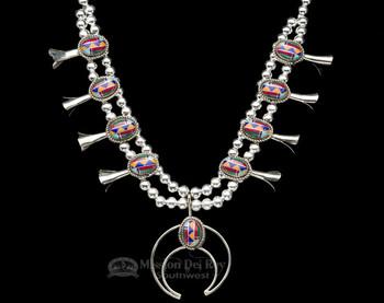 """Navajo Squash Blossom Necklace 22"""""""