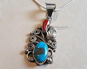 """Native American Silver Pendant Necklace 20"""" -Navajo"""